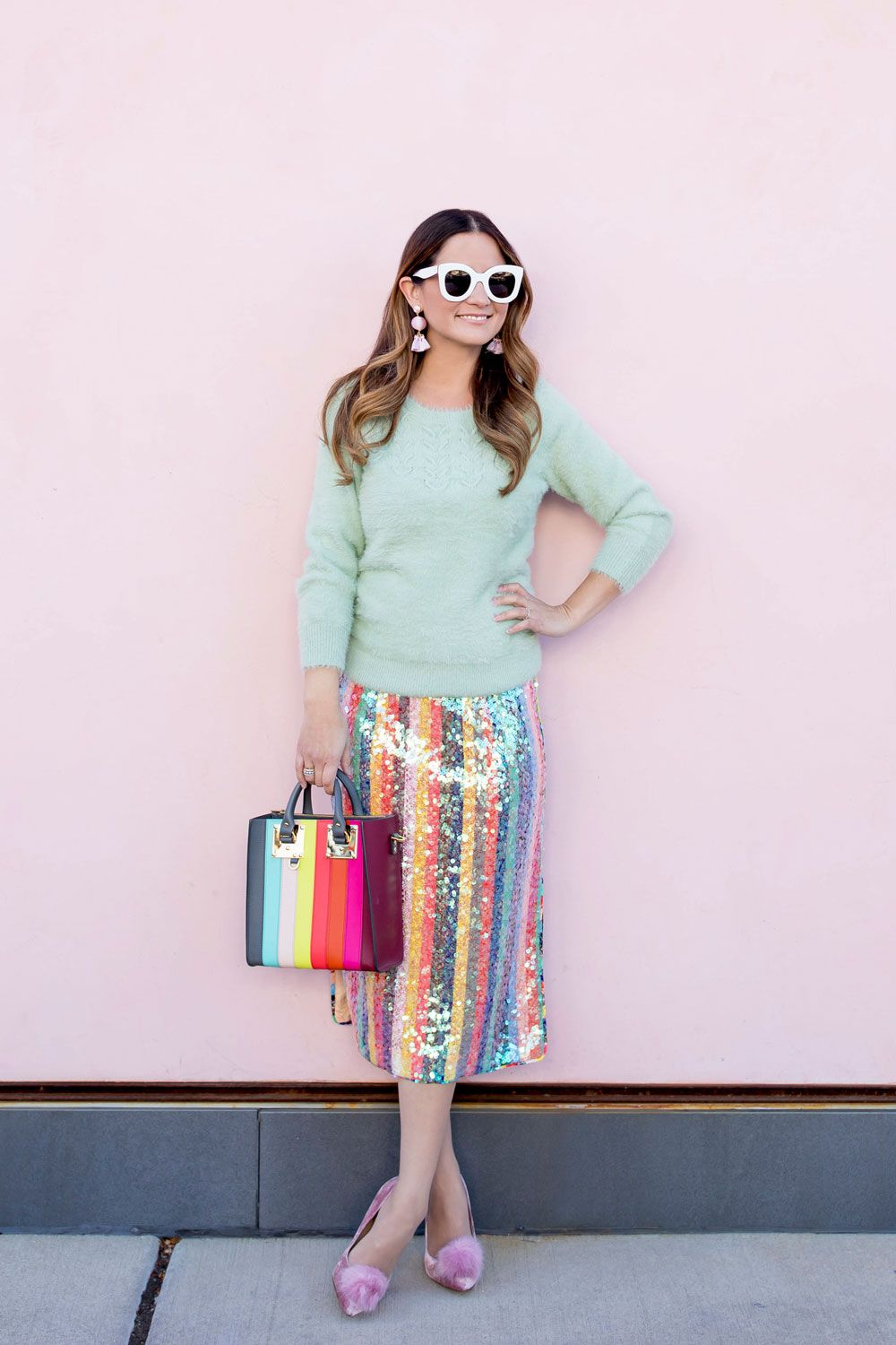 208e828e2a4 Sequin Multicolor Stripe Skirt and Cozy Mint Sweater