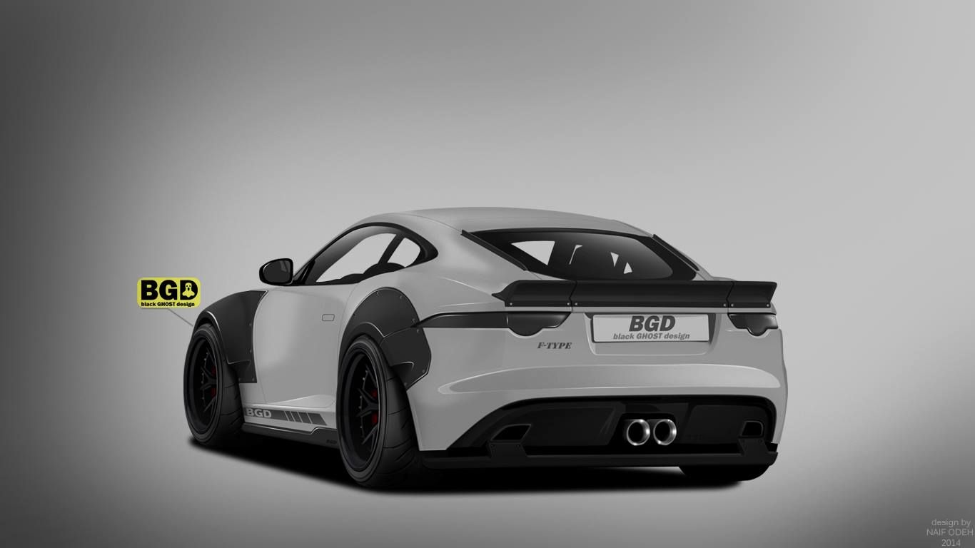 Liberty walk jaguar f type coupe rendered by black ghost design http