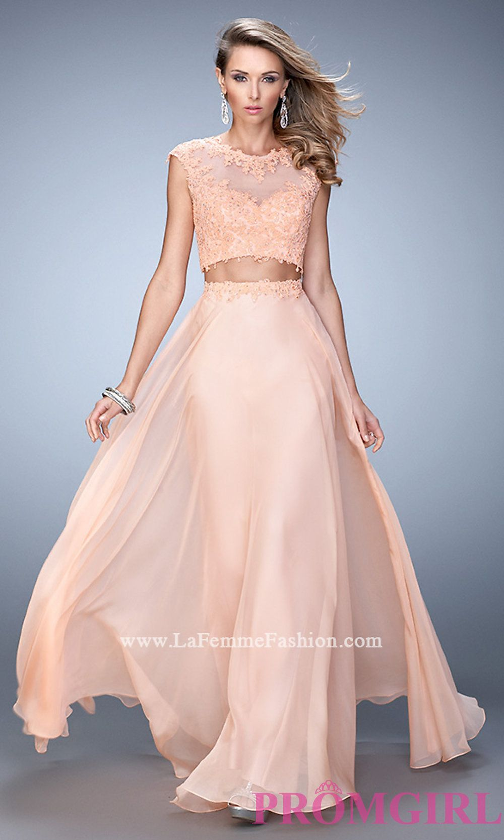 High Neck Two Piece La Femme Dress - Long two piece prom dress with ...