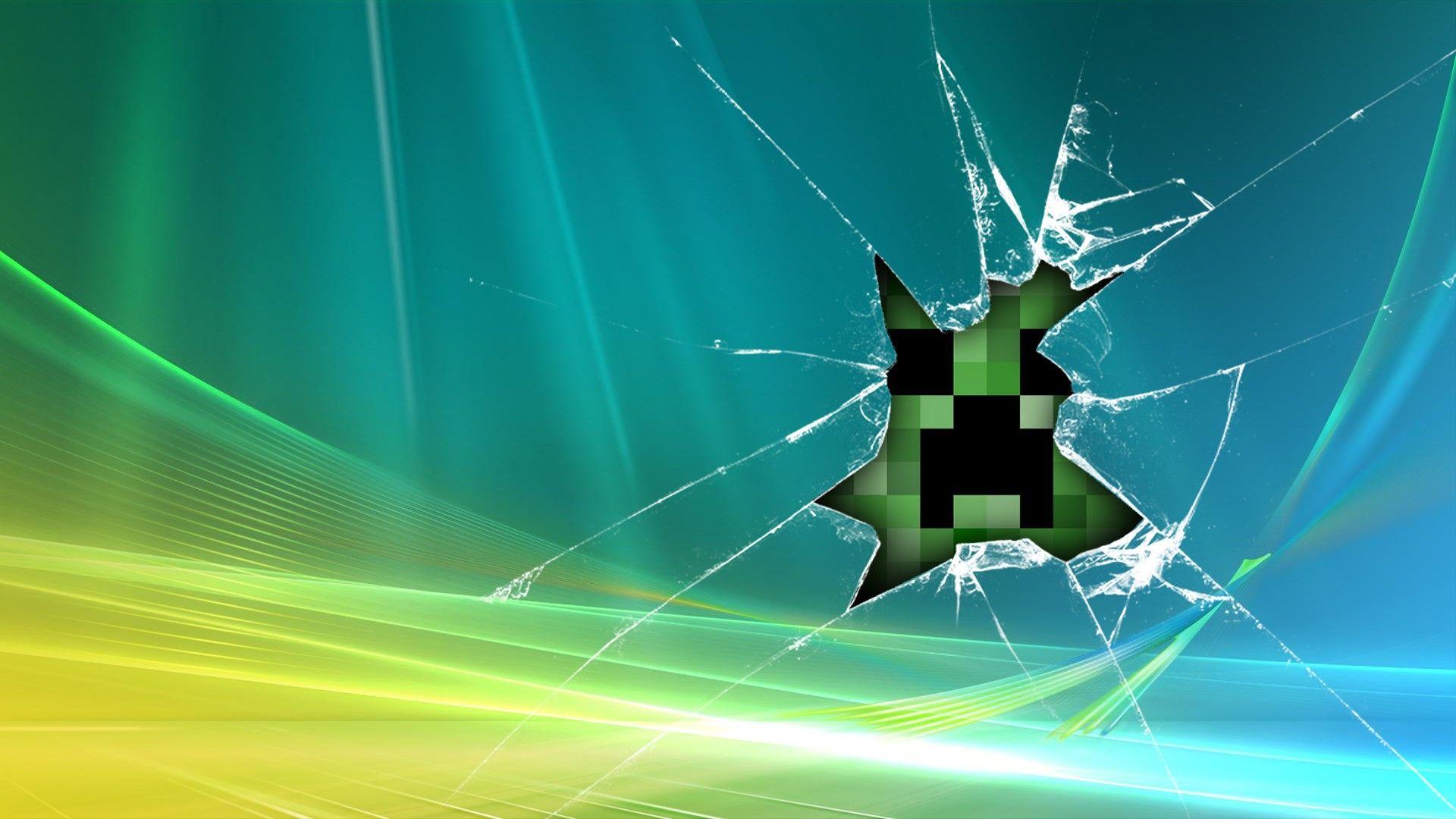 Minecarft Creeper For Windows Minecraft Wallpaper Broken Screen Wallpaper Hd Wallpaper