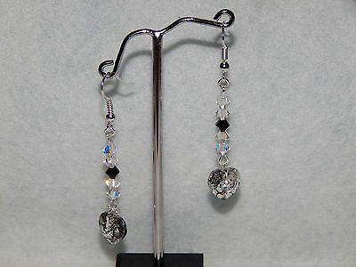boucles d'oreilles pendantes coeur cristal swarovski blanc / patiné (NOUVEAU) €6.30