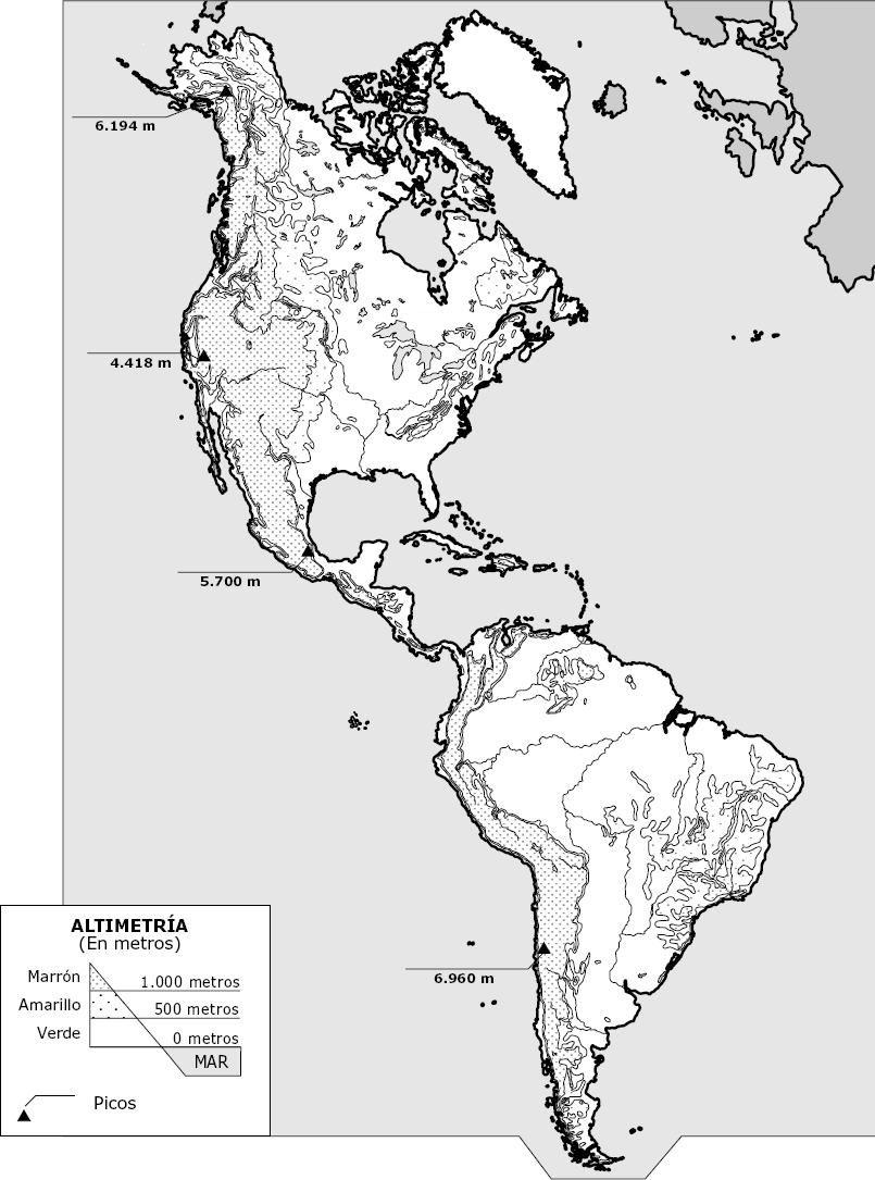 Mapa Físico De América Mapas Mapa De America Mapa Fisico De España