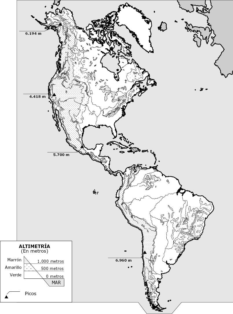 Mapa fsico de Amrica  Geografa  Pinterest