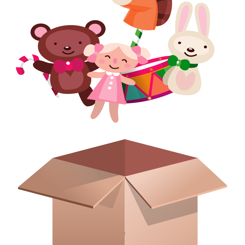 Lovely Toy Box Png And Psd Bear Toy Simple Cartoon Toy Boxes