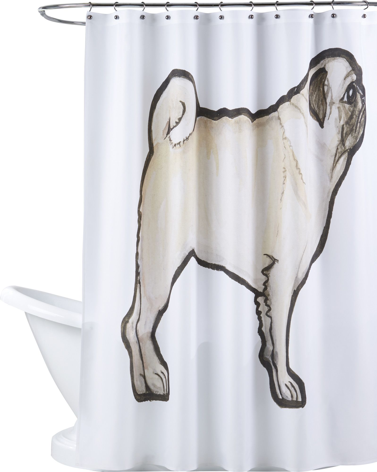 Gauvin Pug Shower Curtain Shower Curtain Curtains Contemporary
