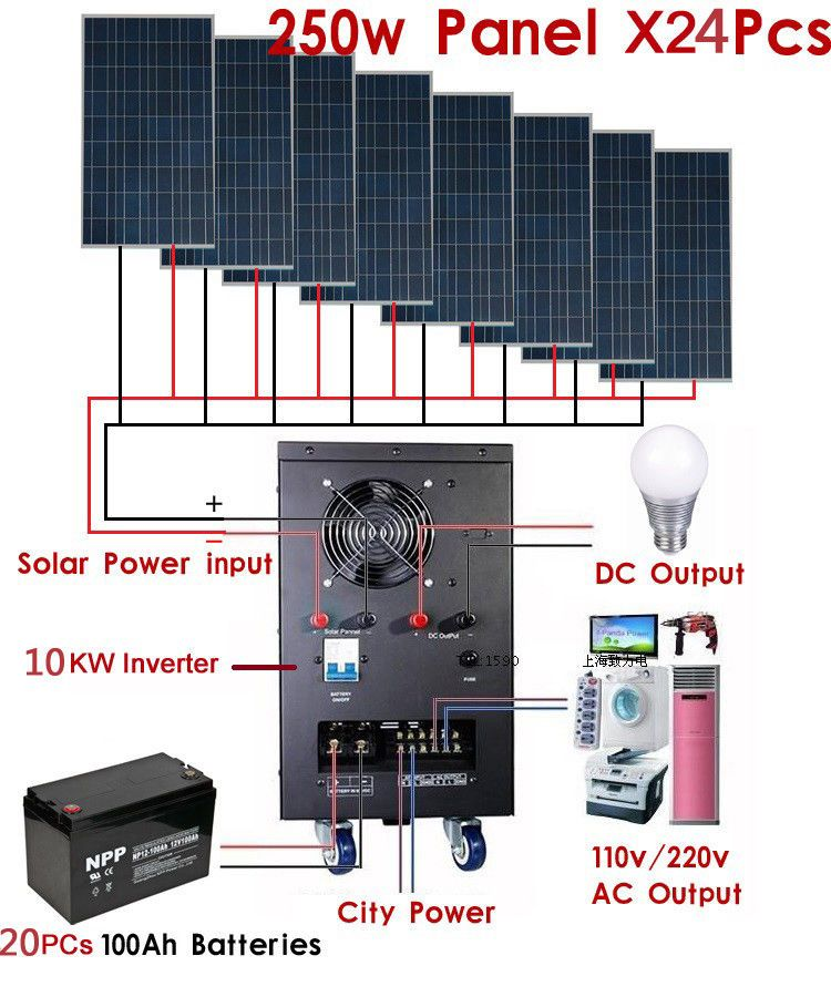 New 10kw Solar Power Generator System For 110v 220v Home Use Shipped By Sea Solar Heating Solar Power Diy Solar Panel System