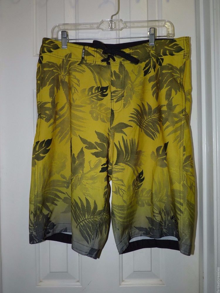 16607adc06 Men's sz 36 LONG SURF BOARD SHORTS SWIM TRUNKS LONG YELLOW/BLACK RS ...