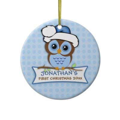 Primer ornamento del búho del navidad del bebé   Pinterest   De la ...