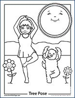 Kids Yoga Pose Coloring Pages