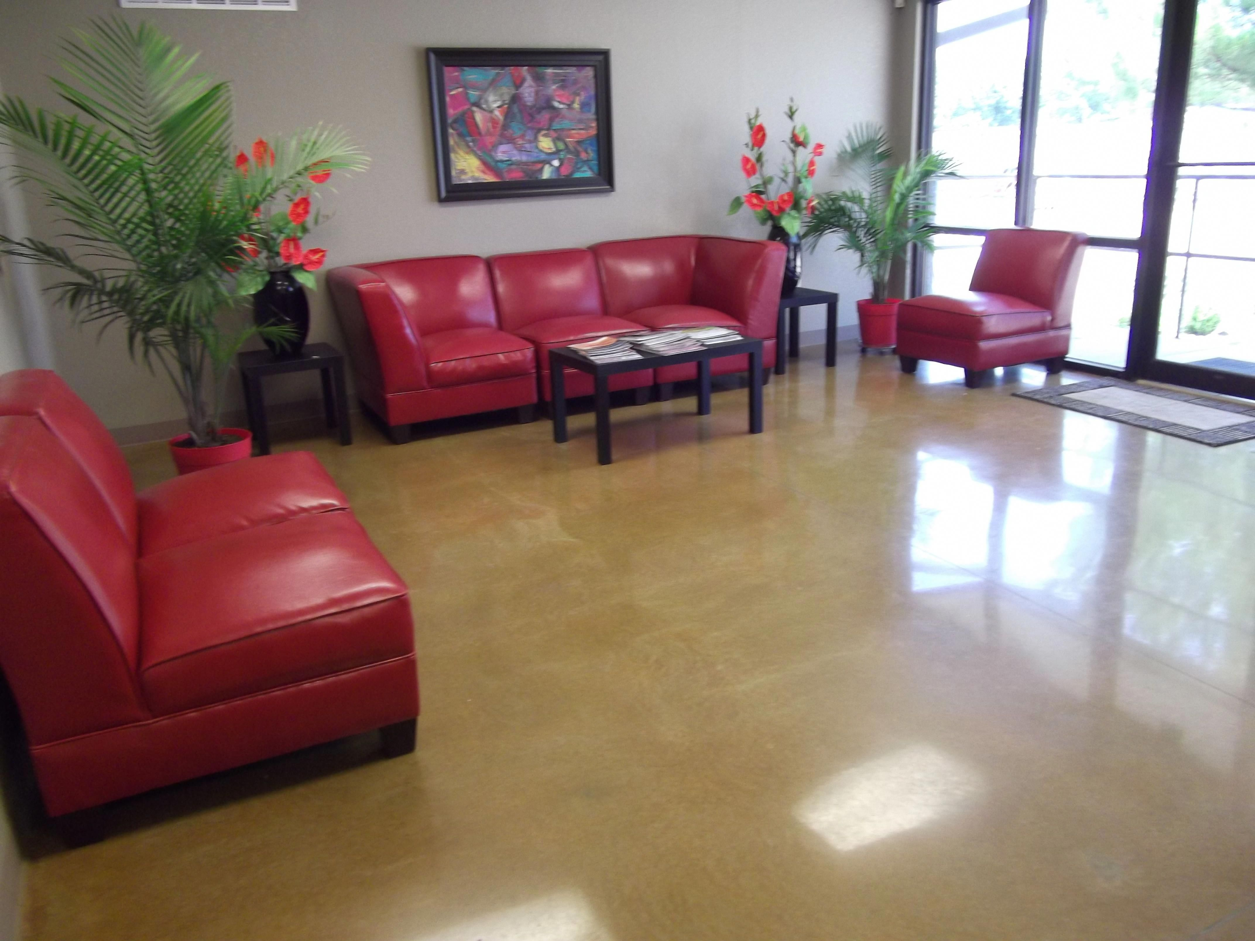 Decorative Painting Concrete Floors With Epoxy Design Combine With Red Sofa For Livingroo Painted Concrete Floors Concrete Floors Living Room Living Room Paint #stained #concrete #floors #living #room