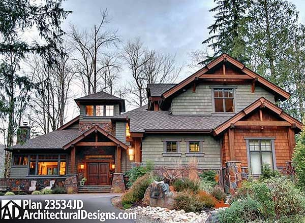 Plan W23534JD  Photo Gallery Luxury Mountain Premium Collection Craftsman House Plans Home Designs 23534JD 4 Bedroom Rustic Retreat House Plans