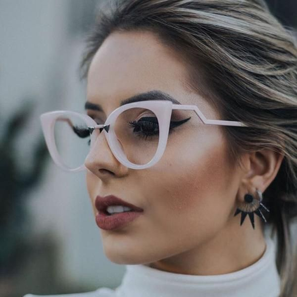 a2daacfef0c  FASHION  NEW Pop Age New Brand Designer Celebrity Cat Eye Sunglasses Women  Clear lens Glasses Vintage Ladies Fashion Sunglasses Eyewear…