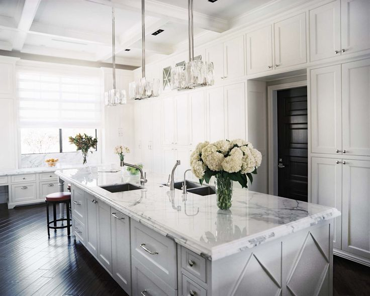 Best A Beautiful White Kitchen With Dark Flooring The 400 x 300