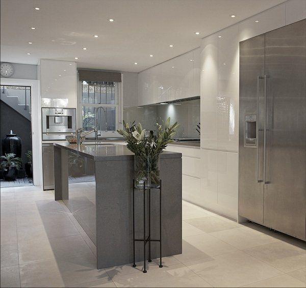grey? und weiße küche design-ideen küche ideen minimalistisch, Kuchen