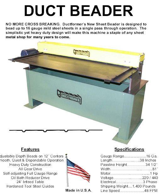 Ductformer S Duct Beader Mild Steel Sheet Sheet Metal Shop Metal Shop