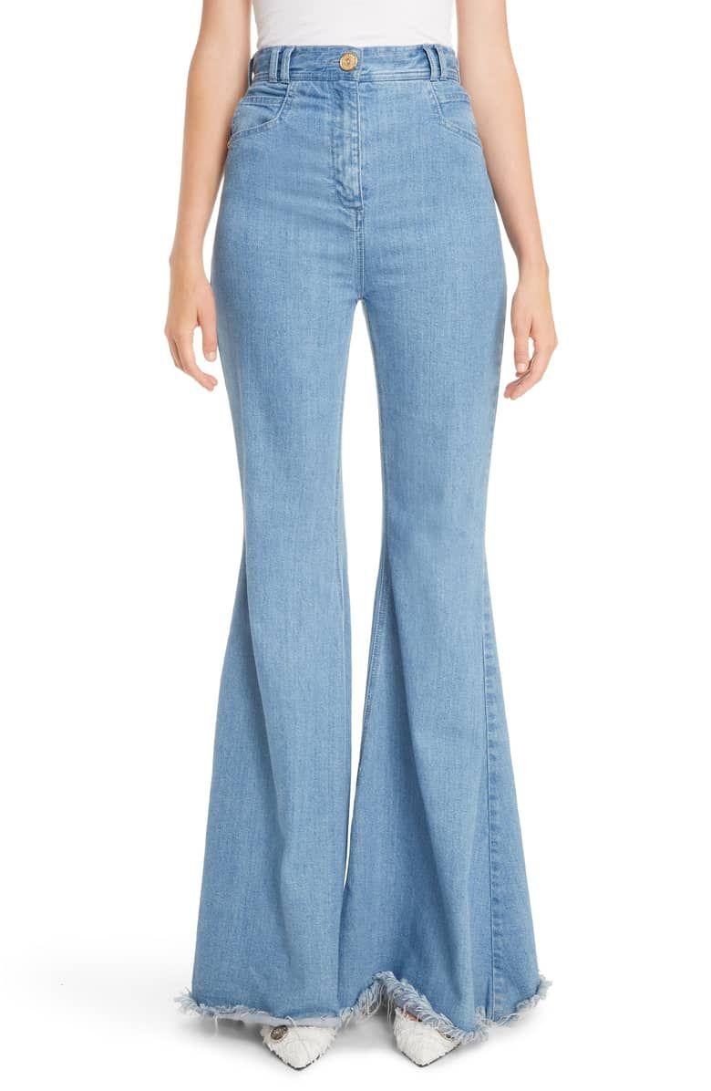 Balmain high waist frayed hem flare jeans flare jeans