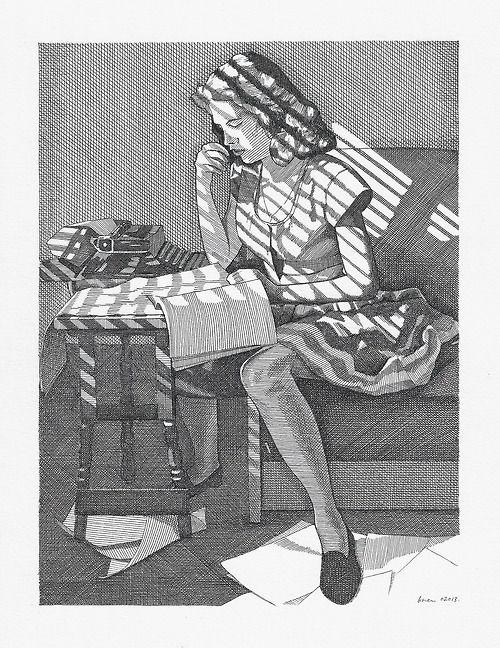 "girl reading- ""Homework"" by Bren Luke, pen & ink drawing, 2013"