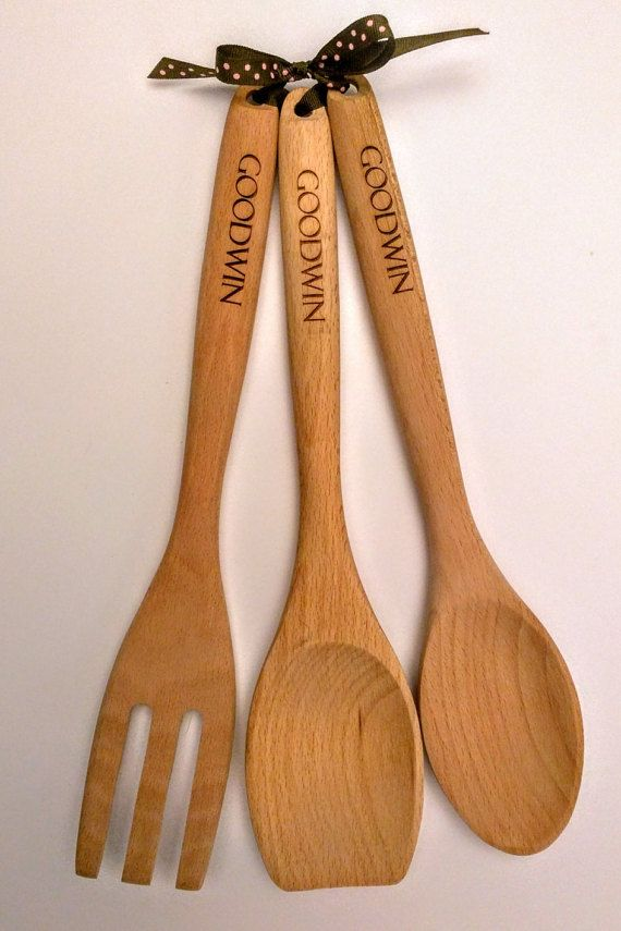 Laser Engraved Wooden Spoons Personalized Wooden Kitchen Utensils Set Of 3 Wooden Spoons Wooden Spoon Crafts Wooden Kitchen Utensils