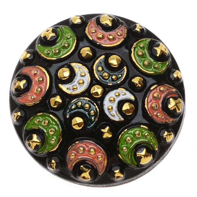 Czech Glass Flat Back Button Cabochons Round with Bali Moon Design 27mm 1 Piece Multi Color