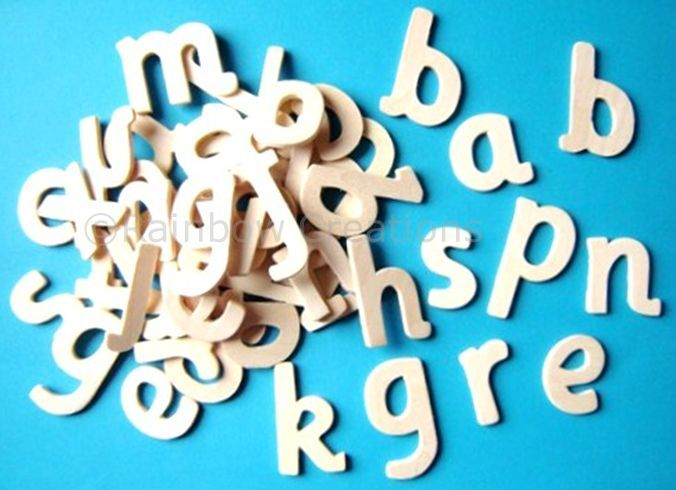 plain wooden letters - 60 small lower case wooden letters | speech