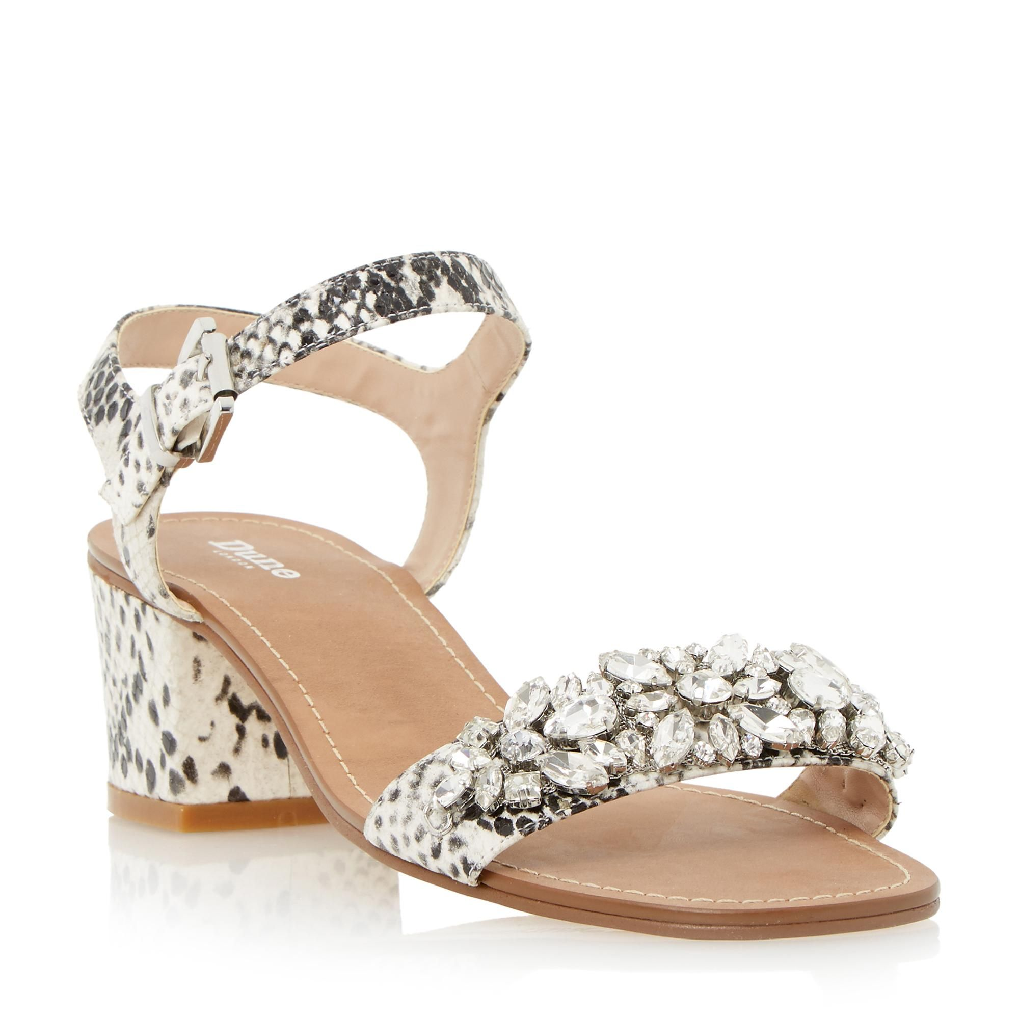 Black sandals dune - Dune Ladies Mahala Embellished Two Part Mid Heel Sandal Black White Dune Shoes