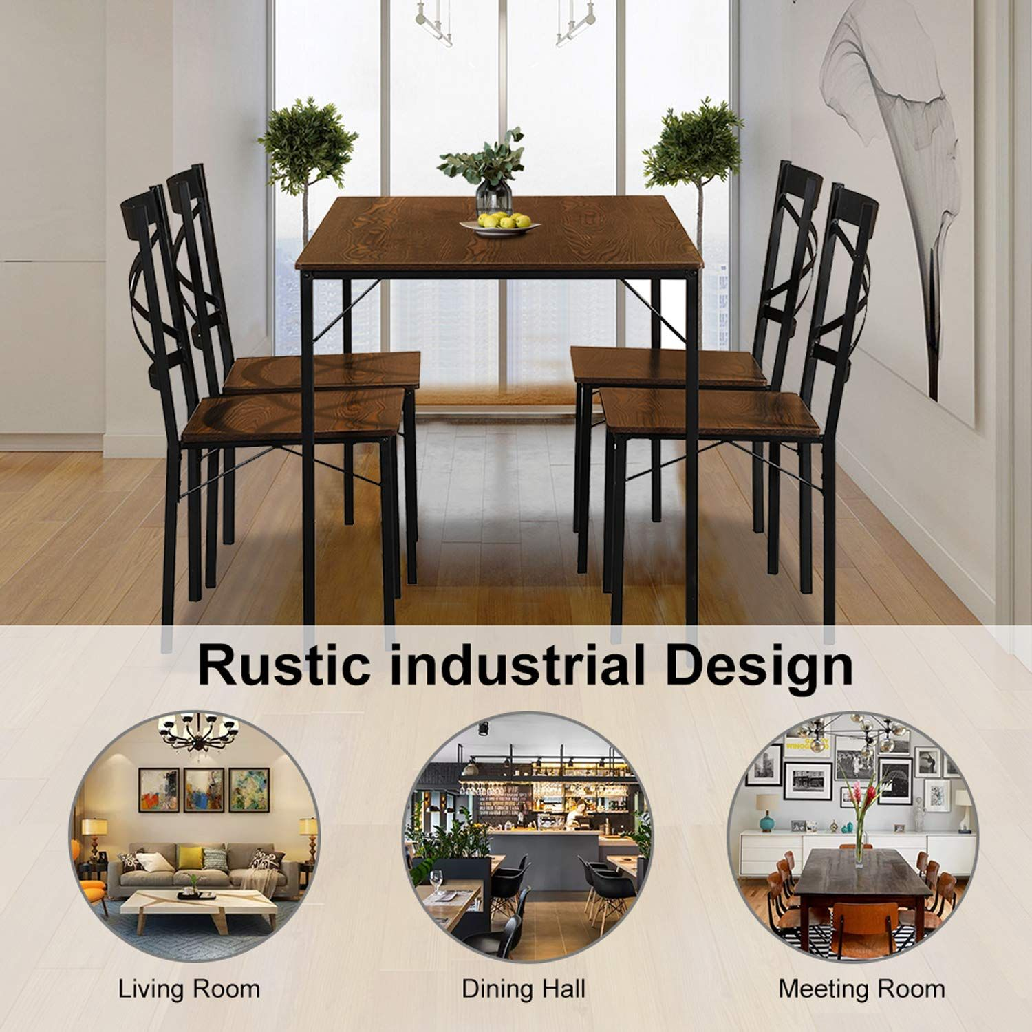 Lentia 5 Piece Dining Table Set Vintage Table Top Home Kitchen Table With 4 Chairs Metal Dining Roo Metal Dining Room Wooden Kitchen Table Dining Table Setting
