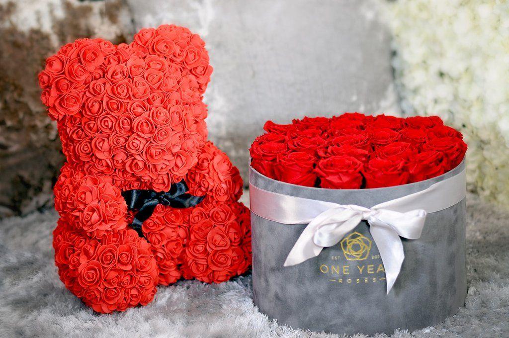 Signature Rose Teddy Bear Flower Crafts Valentines Roses Roses Luxury