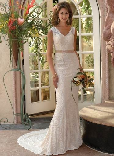 Wedding dress for skinny and petite brides features throughout lace ...