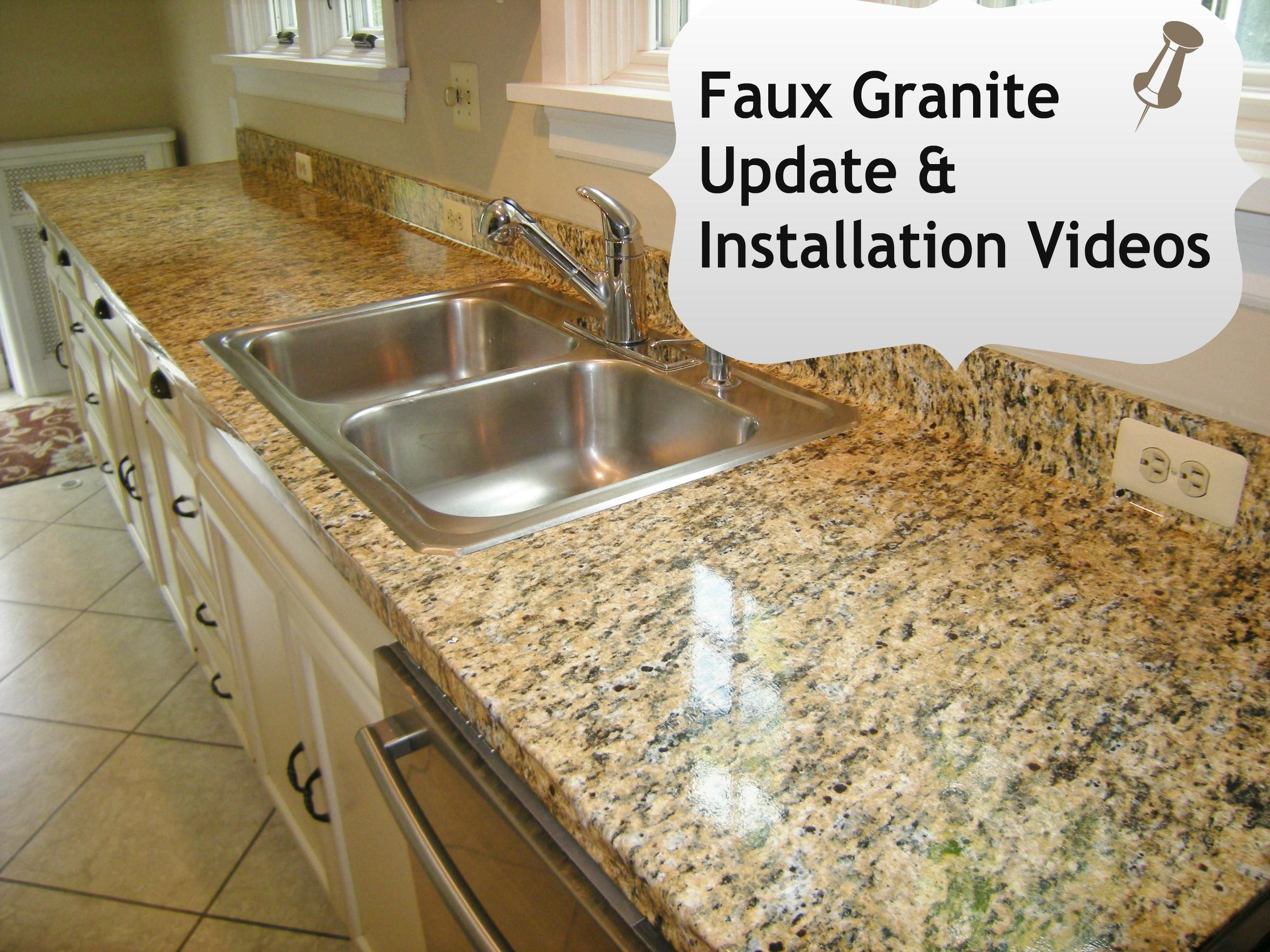 Faux granite kitchen counters in minutes with ez instant makeover faux granite countertops kitchen