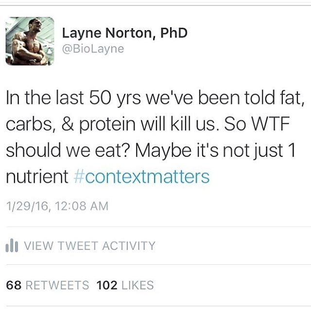 Amen my friend! @biolayne said it perfectly here. There is no one-size-fits-all approach. Context matters when understanding what macro nutrient ratios are best for your YOU and your individual situation. But all this arguing over whether fats or carbs are better is irrelevant if we can't figure out how to get people to maintain caloric balance. That is priority #1 on the hierarchy of importance. We don't have a dietary fat or carb problem. We have a caloric balance problem.  The reason…