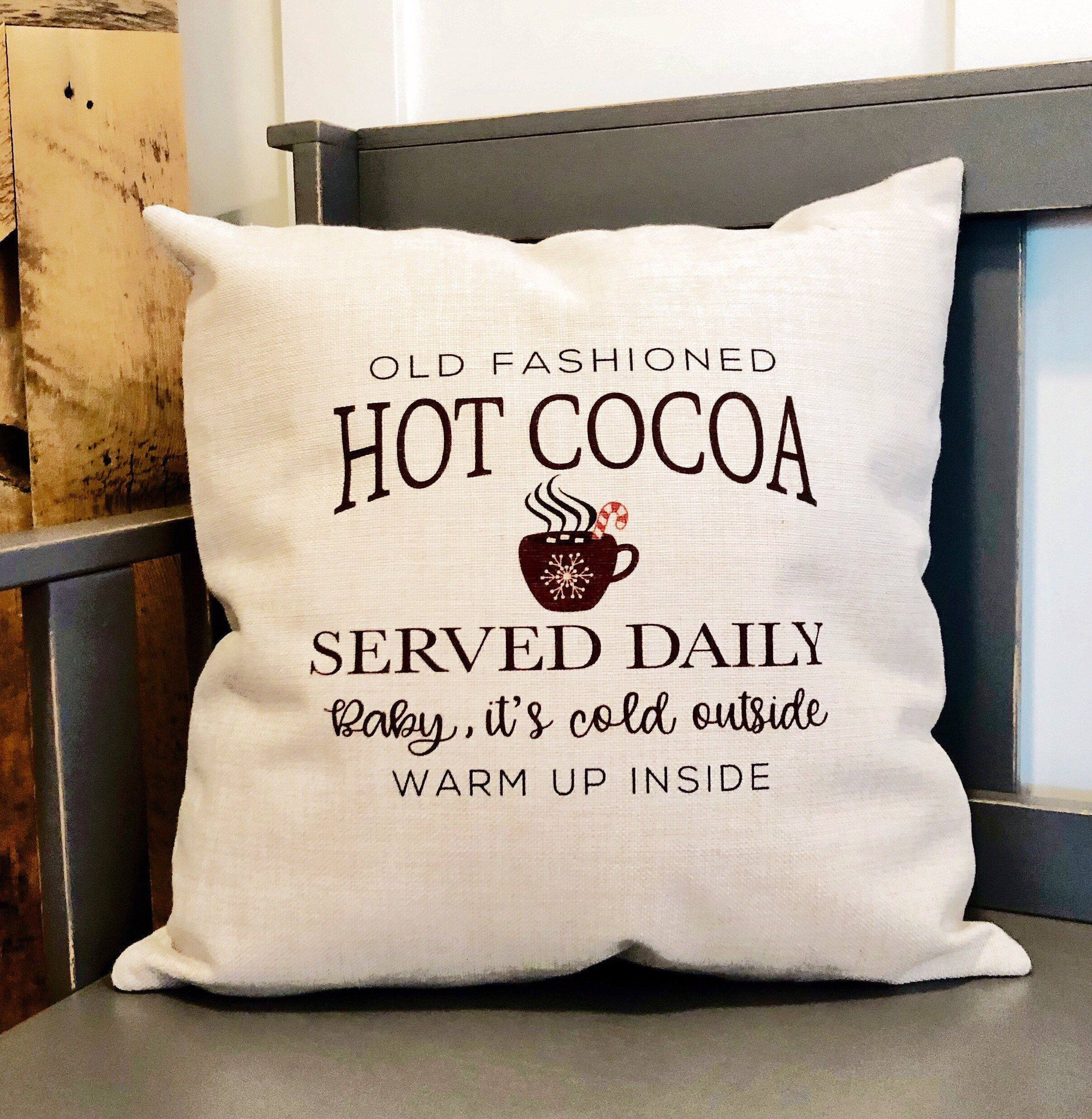 Hot Cocoa Served Daily Pillow Cover Winter Decor Christmas Etsy Christmas Pillow Covers Christmas Pillow Winter Throw Pillows