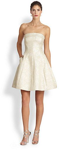 Monique Lhuillier Strapless Brocade Cocktail Dress | #Chic Only #Glamour Always