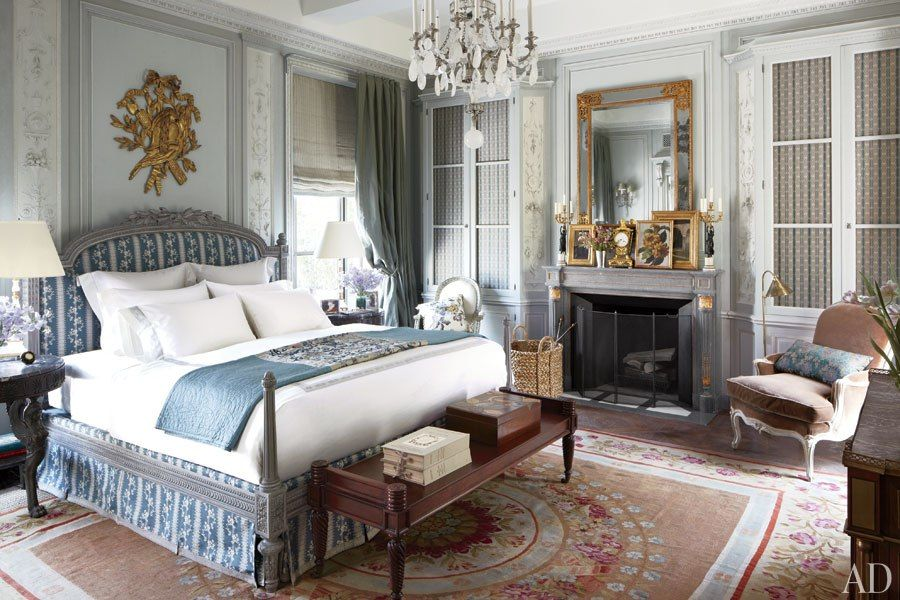 Bedrooms going upscale and costing lots of money. Find the details to mimic like those great cupboards and wall & window treatments. Michael S. Smith's Manhattan Penthouse  Updating the New York City duplex he shares with HBO executive James Costos