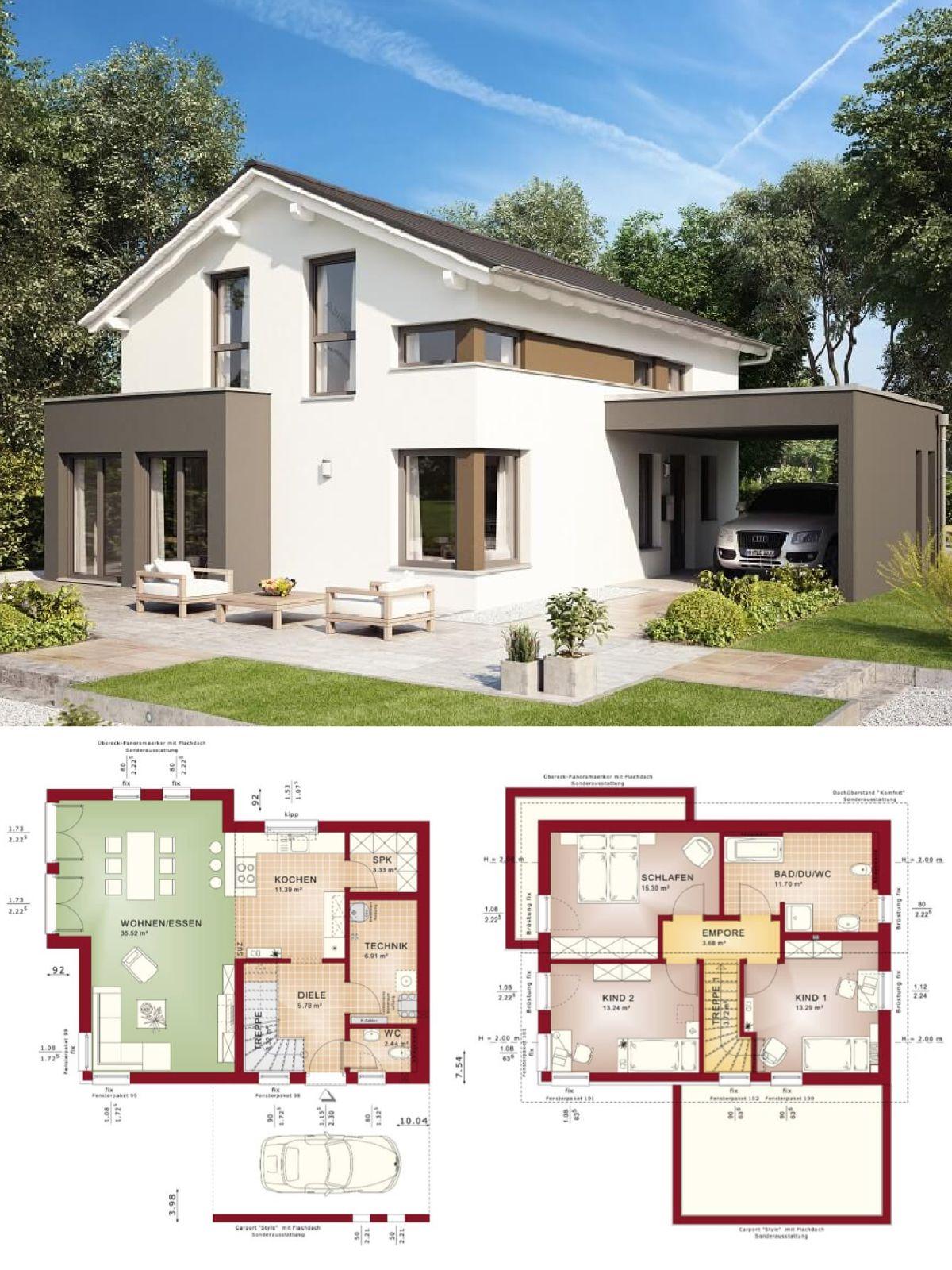 Modernes Design Haus Mit Satteldach Architektur Erker Anbau Carport Einfamilienhaus Modern Grundriss Offen Fertighaus Anbau Haus Haus Ideen Haus Grundriss
