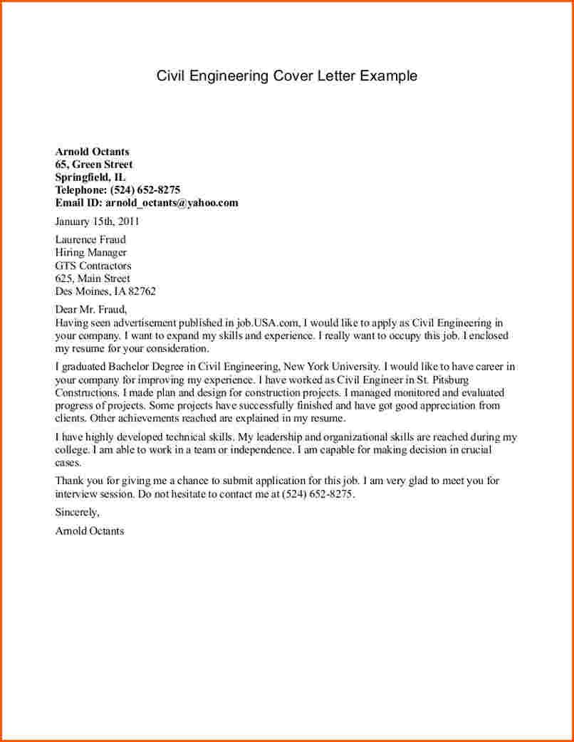 Engineering Cover Letter Civil More Sample Examples Pdf  Home