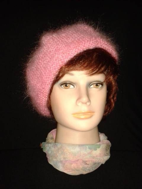 f108cca01 Hand Knit Pink Luxury fuzzy mohair beret Woman mohair beanie | NEW ...