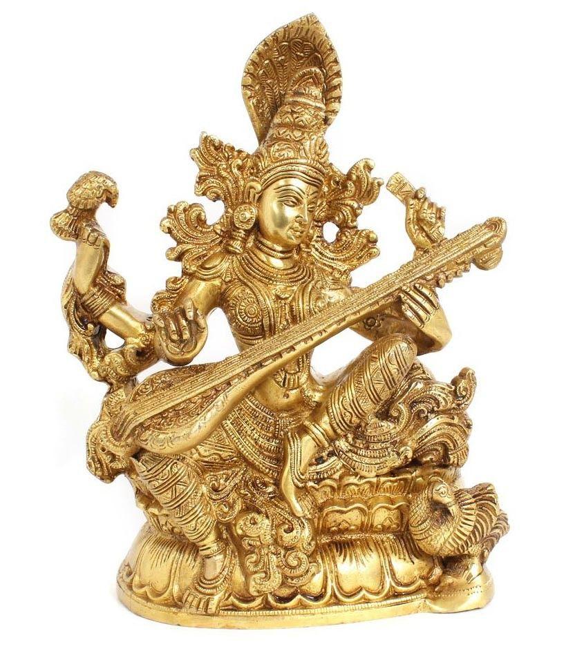 fd67bd591dc SARASWATI WITH VEENA - Golden Saraswati with Veena idol made of brass with  intricate details Size - (L x W x H) 8.5