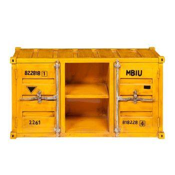 Porta-TV giallo in metallo a forma di container L 129 cm