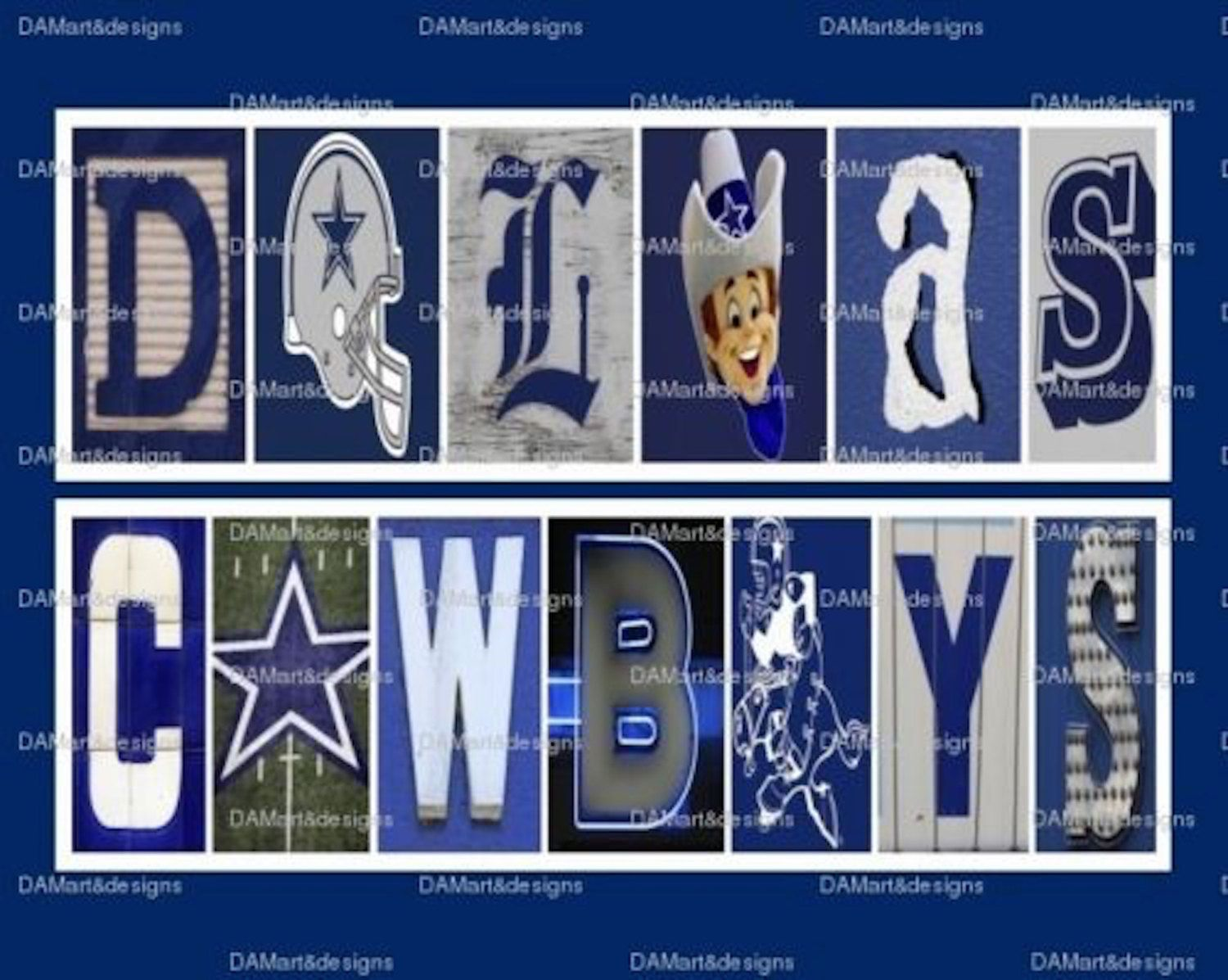 Dallas Cowboys Framed Alphabet Photo Art | Pinterest