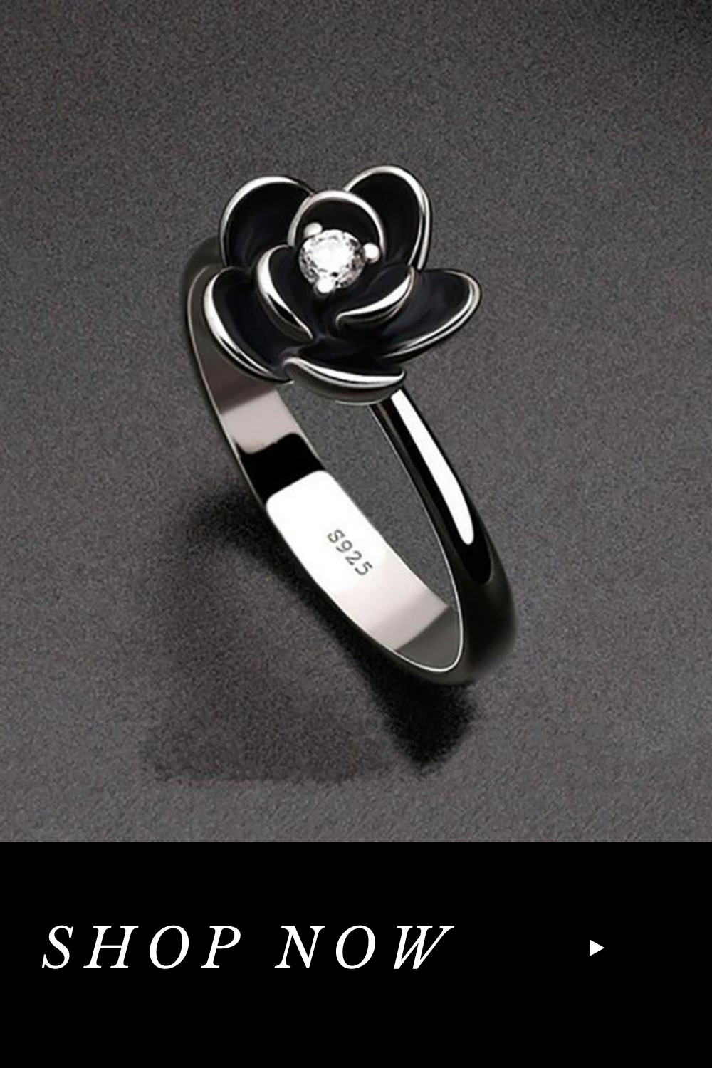 Black Dahlia Flower Ring 60 Off Today In 2020 Black Engagement Ring Flower Ring Goth Ring