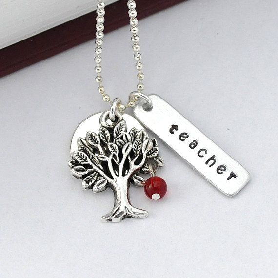 Apple for Teacher necklace red glass heart sterling silver charm and chain