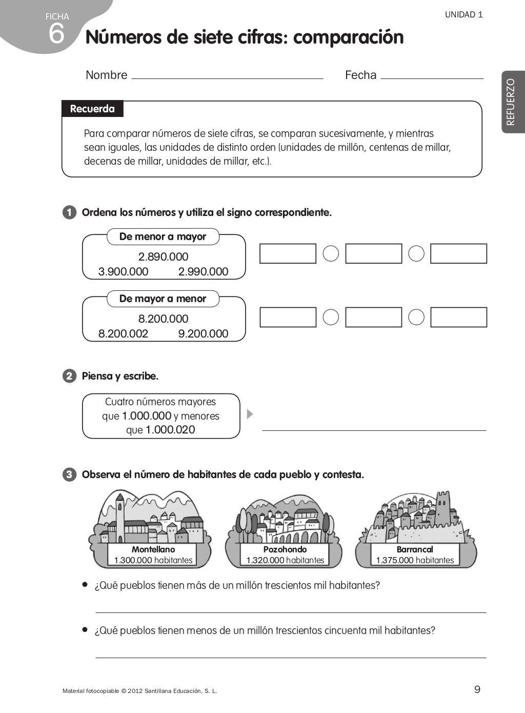 Refuerzo Matematicas 4o De Primaria In