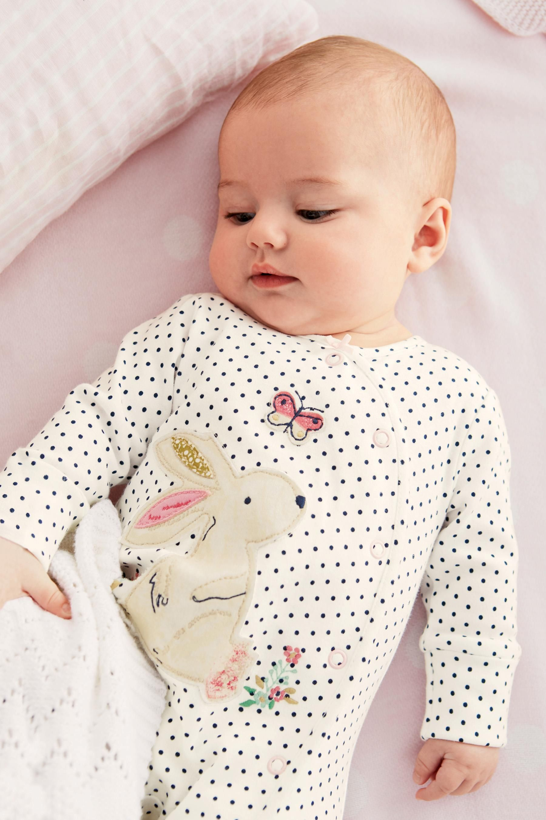 Buy Three Pack Spot Bunny Sleepsuit 0mths 2yrs from the Next UK