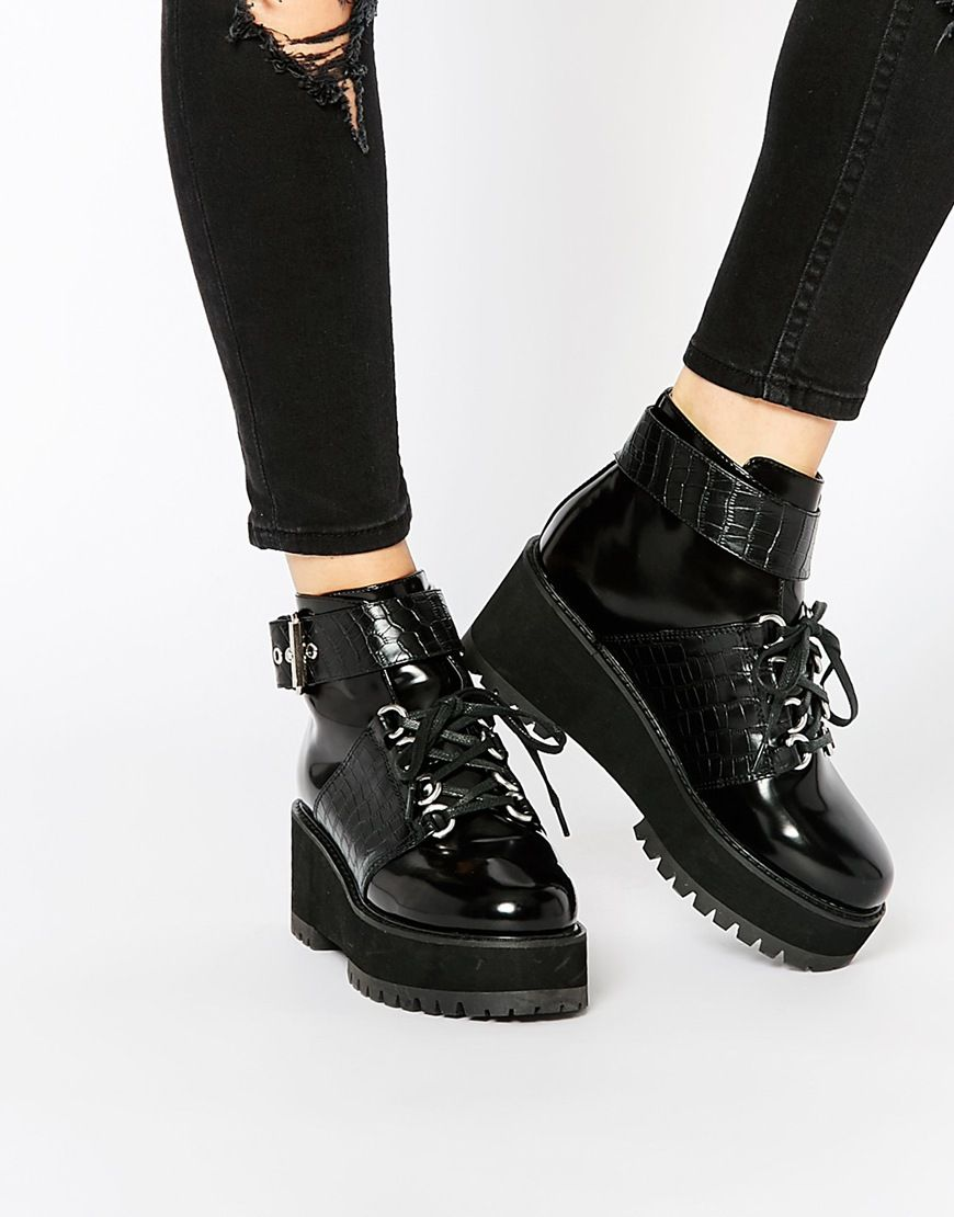 Buy Women Shoes / Asos Roster Flatform Ankle Boots