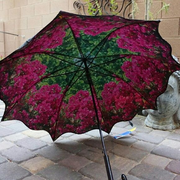 """Floral Flower Bougainvillea pink Umbrella Parasol Umbrella w scalloped edges. Double layer. Outside layer is black. Inside has good quality photo print of bright pink bougainvillea. Great for photo shoots, but also great for rain or sun. 34"""" long when closed. 41"""" canopy when open. 8 flexible fiberglass ribs will not break. Curved handle. Automatic open. Cane style umbrella. Accessories Umbrellas"""