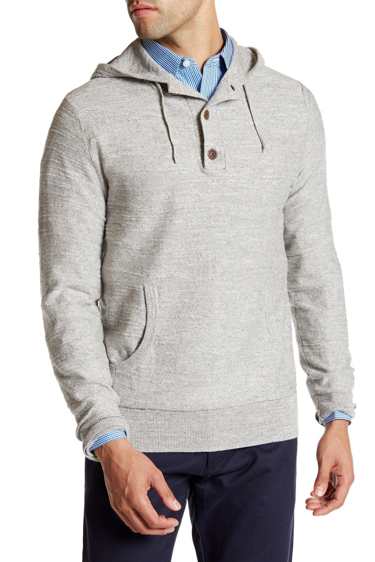 54e6a7de A supersoft, thermal hoodie with a two-button henley placket is cut for a  modern, layer-ready fit.