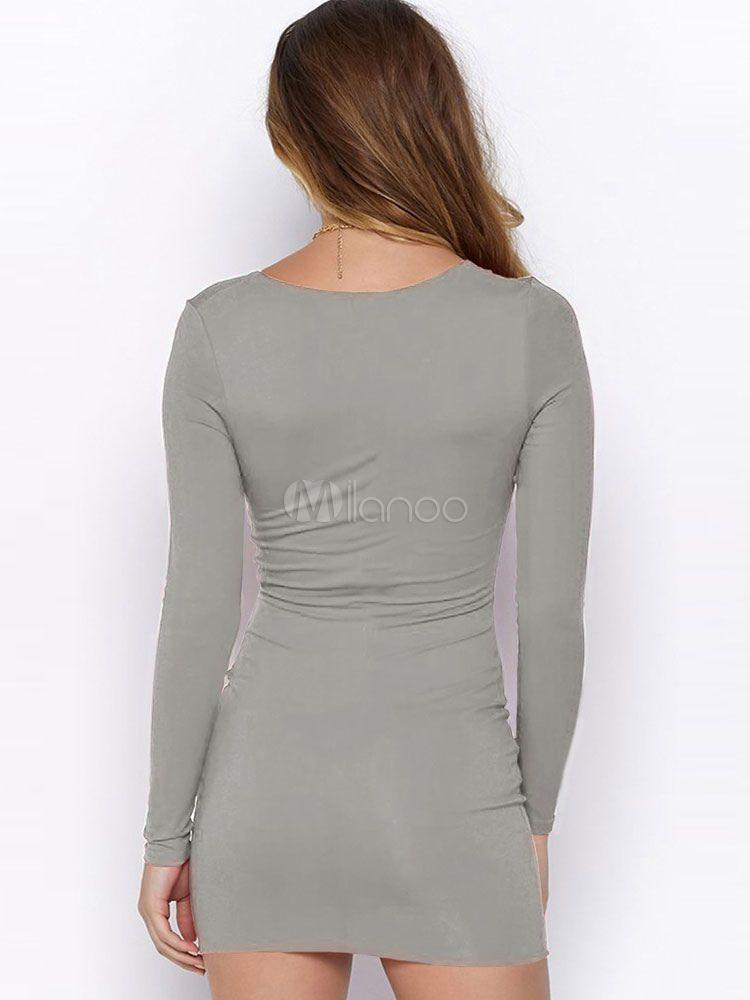 0f5db09ddaa White Dress Sexy Bodycon Dress Long Sleeve V Neck Cut Out Drawstring  Shaping Mini Dress #