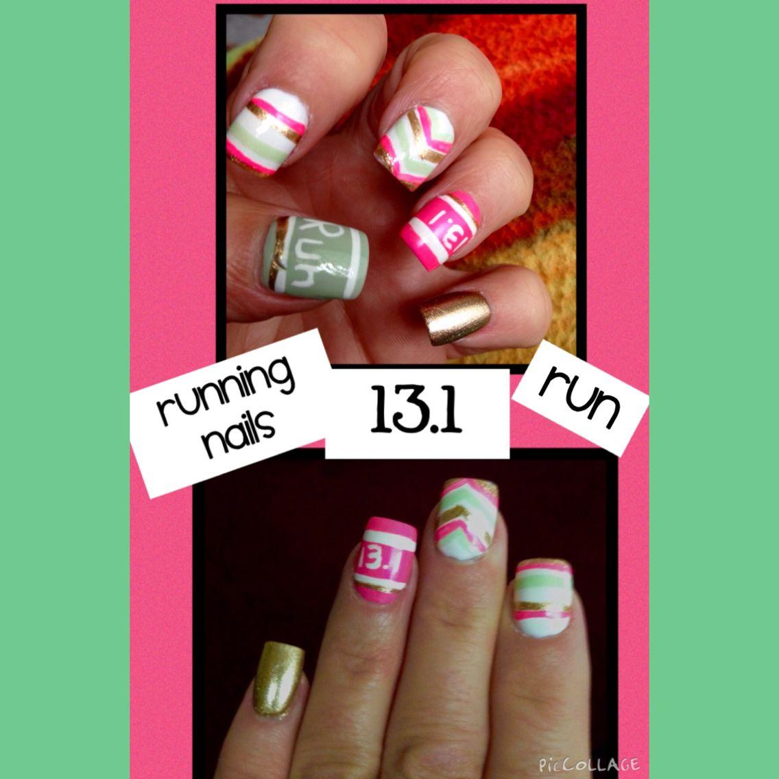 Running nail art 13.1 half marathon nails by Native Nails Ishpeming ...