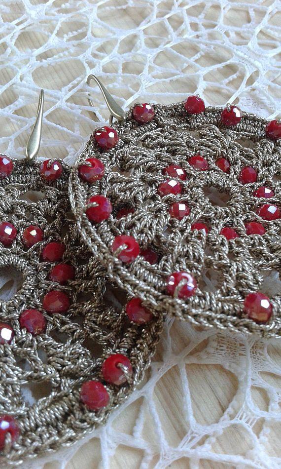 Drop earrings made in crochet | Gioielli | Pinterest | Adornar, De ...