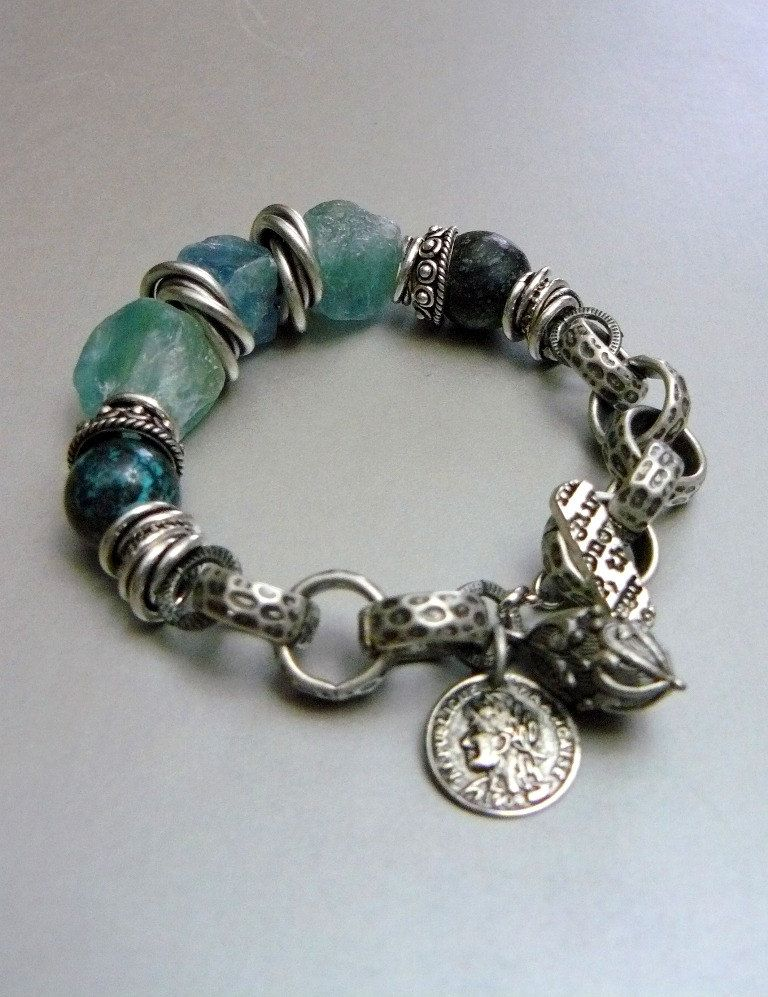 Currents with Natural Apatite Nuggets Turquoise by pmdesigns09